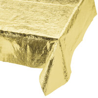 Creative Converting 38321 Gold Metallic 54 inch x 108 inch Table Cover - 12 / Case