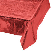 Creative Converting 38327 Red Metallic 54 inch x 108 inch Table Cover - 12 / Case