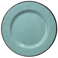 Elite Global Solutions D1025M Mojave Vintage California 10 1/2 inch Cameo Blue Round Crackle Melamine Plate