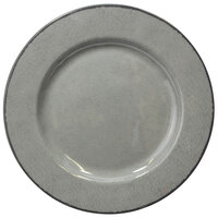Elite Global Solutions D1025M Mojave Vintage California 10 1/2 inch Gray Round Crackle Melamine Plate