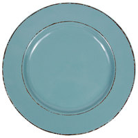 Elite Global Solutions D1025T Trestles Vintage California 10 1/2 inch Cameo Blue Round Double-Line Melamine Plate