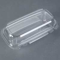 9 inchx 5 inch x 3 inch Tamper-Evident Recycled PET Hoagie Clear Takeout Lid Container - 100/Case