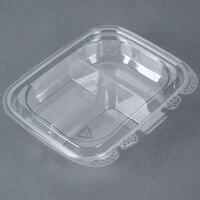 13 oz. Tamper-Evident Recycled PET 3 Compartment Clear Take Out Container - 200/Case