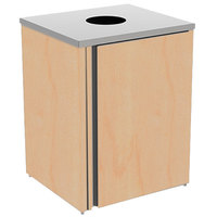 Lakeside 3410 Stainless Steel Refuse Station with Top Access and Hard Rock Maple Laminate Finish - 26 1/2 inch x 23 1/4 inch x 34 1/2 inch