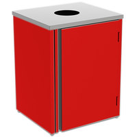 Lakeside 3410 Stainless Steel Refuse Station with Top Access and Red Laminate Finish - 26 1/2 inch x 23 1/4 inch x 34 1/2 inch