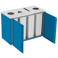 Lakeside 3418 Stainless Steel Refuse (2) / Recycle / Paper Station with Top Access and Royal Blue Laminate Finish - 48 1/2 inch x 23 1/4 inch x 34 1/2 inch