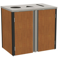 Lakeside 3415 Stainless Steel Refuse / Recycle / Paper Station with Top Access and Victorian Cherry Laminate Finish - 37 1/2 inch x 23 1/4 inch x 34 1/2 inch