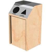 Lakeside 4412 Stainless Steel Refuse / Recycling Station with Front Access and Hard Rock Maple Laminate Finish - 26 1/2 inch x 23 1/4 inch x 45 1/2 inch