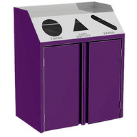 Lakeside 4415 Stainless Steel Refuse / Recycle / Paper Station with Front Access and Purple Laminate Finish - 37 1/2 inch x 23 1/4 inch x 45 1/2 inch