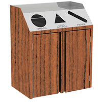 Lakeside 4415 Stainless Steel Refuse / Recycle / Paper Station with Front Access and Victorian Cherry Laminate Finish - 37 1/2 inch x 23 1/4 inch x 45 1/2 inch