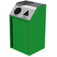 Lakeside 4412 Stainless Steel Refuse / Recycling Station with Front Access and Green Laminate Finish - 26 1/2 inch x 23 1/4 inch x 45 1/2 inch