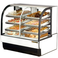 True TCGDZ-50 50 inch White Curved Glass Dual Zone Dry / Refrigerated Bakery Case - 27 Cu. Ft.