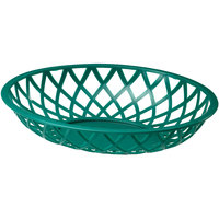 Tablecraft 1072DG 9 inch x 7 1/2 inch x 2 inch Dark Green Oval Plastic Fast Food Basket - 12/Pack