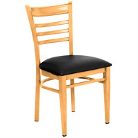 Lancaster Table & Seating Spartan Series Metal Ladder Back Chair with Natural Wood Grain Finish and Black Vinyl Seat