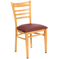 Lancaster Table & Seating Spartan Series Metal Ladder Back Chair with Natural Wood Grain Finish and Burgundy Vinyl Seat