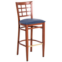 Lancaster Table & Seating Spartan Series Bar Height Metal Window Back Chair with Mahogany Wood Grain Finish and Navy Vinyl Seat