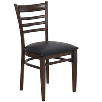 Lancaster Table & Seating Spartan Series Metal Ladder Back Chair with Walnut Wood Grain Finish and Black Vinyl Seat