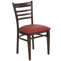 Lancaster Table & Seating Spartan Series Metal Ladder Back Chair with Walnut Wood Grain Finish and Burgundy Vinyl Seat