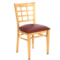 Lancaster Table & Seating Spartan Series Metal Window Back Chair with Natural Wood Grain Finish and Burgundy Vinyl Seat