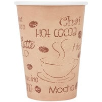 Choice 12 oz. Poly Paper Hot Cup with Cafe Design - 50 / Pack
