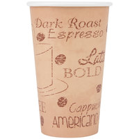 Choice 16 oz. Café Print Poly Paper Hot Cup   - 1000/Case
