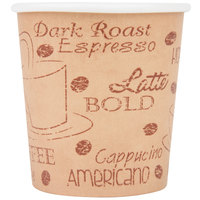 Choice 4 oz. Poly Paper Hot Cup with Cafe Design - 50/Pack