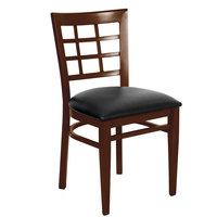 Lancaster Table & Seating Spartan Series Metal Window Back Chair with Walnut Wood Grain Finish and Black Vinyl Seat