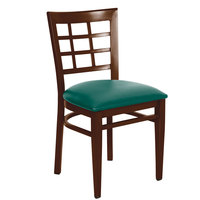Lancaster Table & Seating Spartan Series Metal Window Back Chair with Walnut Wood Grain Finish and Green Vinyl Seat