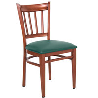 Lancaster Table & Seating Spartan Series Metal Slat Back Chair with Mahogany Wood Grain Finish and Green Vinyl Seat