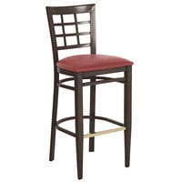 Lancaster Table & Seating Spartan Series Bar Height Metal Window Back Chair with Walnut Wood Grain Finish and Red Vinyl Seat