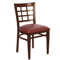 Lancaster Table & Seating Spartan Series Metal Window Back Chair with Walnut Wood Grain Finish and Burgundy Vinyl Seat