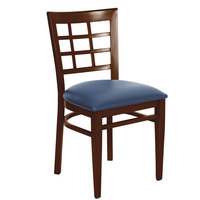 Lancaster Table & Seating Spartan Series Metal Window Back Chair with Walnut Wood Grain Finish and Navy Vinyl Seat