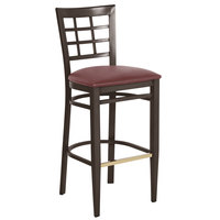 Lancaster Table & Seating Spartan Series Bar Height Metal Window Back Chair with Walnut Wood Grain Finish and Burgundy Vinyl Seat