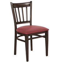 Lancaster Table & Seating Spartan Series Metal Slat Back Chair with Walnut Wood Grain Finish and Red Vinyl Seat