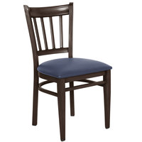 Lancaster Table & Seating Spartan Series Metal Slat Back Chair with Walnut Wood Grain Finish and Navy Vinyl Seat