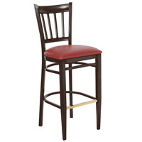 Lancaster Table & Seating Spartan Series Bar Height Metal Slat Back Chair with Walnut Wood Grain Finish and Red Vinyl Seat