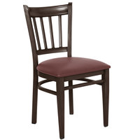 Lancaster Table & Seating Spartan Series Metal Slat Back Chair with Walnut Wood Grain Finish and Burgundy Vinyl Seat