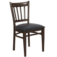 Lancaster Table & Seating Spartan Series Metal Slat Back Chair with Walnut Wood Grain Finish and Black Vinyl Seat