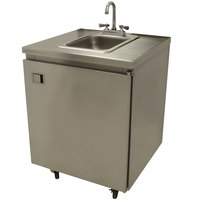 Advance Tabco SHK-MSC-26CH 26 inch Portable Self-Contained Stainless Steel Hand Sink Cart with Deck Mount Faucet and Hot Water Heater