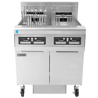 Frymaster FPRE222TC-SD High Efficiency Electric Floor Fryer with (2) 50 lb. Full Frypots and CM3.5 Controls - 22kW