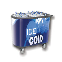 Gray Server Elite 5070 Portable Insulated Ice Bin / Beverage Cooler / Merchandiser with Two Compartments, Cash Drawer and Tray 108 Qt.