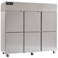 Delfield GBSF3-SH Global Series 83 inch Top-Mount Three Section Half Door Stainless Steel Reach-In Freezer - 71 cu. ft.