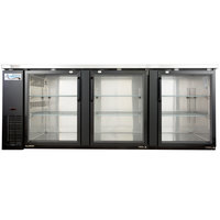 Avantco UBB-4G 90 inch Glass Door Back Bar Cooler with Stainless Steel Top and LED Lighting
