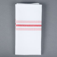 Snap Drape NAPFSRED Farm Stripe 18 inch x 22 inch Red Striped Cloth Napkin - 12/Pack