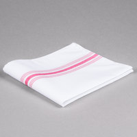 Marko 53771822NH148 Softweave Bistro 18 inch x 22 inch Raspberry Striped Napkin - 12/Pack