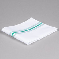 Marko 53771822NH064 Softweave Bistro 18 inch x 22 inch Kelly Green Striped Napkin - 12/Pack