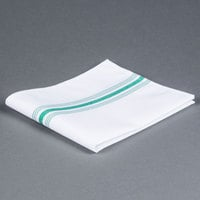 Marko 53771822NH064 Softweave Bistro 18 inch x 22 inch Kelly Green Striped Napkin - 12 / Pack