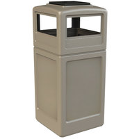 Commercial Zone 73300299 PolyTec 42 Gallon Beige Waste Container and Ashtray Dome Lid Set