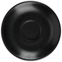 Hall China 302850AFCA Foundry 4 7/8 inch Black Ceramic A.D. Cup Saucer for A.D. Cup - 24/Case
