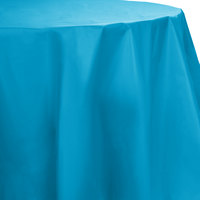 Creative Converting 703131 82 inch Turquoise Blue OctyRound Disposable Plastic Table Cover